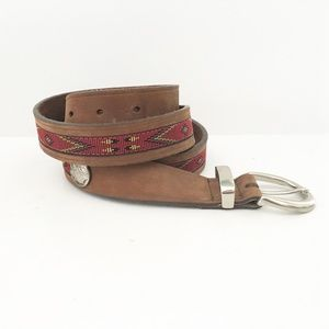 Accessories - VTG Leather Belt Southwest Brown XL